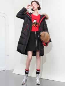 2018betu百图女装黑色羽绒服