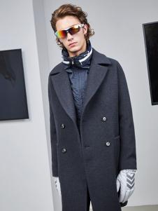 AEX男装灰色双排扣大衣