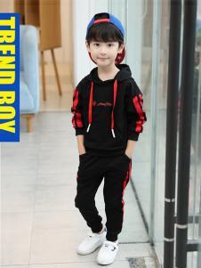 CX童装黑色字母时尚套装