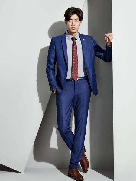 职业门商务装新款蓝色西服套装
