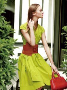umisky女装青绿色时尚连衣裙