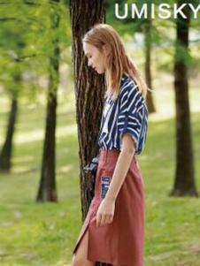 umisky女装蓝白条纹T恤