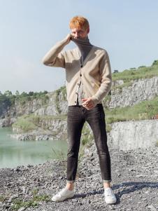 BZE男装杏色休闲针织衫