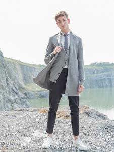 BZE男装灰色休闲风衣