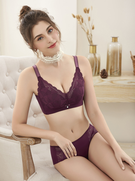 诗曼芬新款深紫色文胸套装