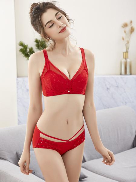 诗曼芬新款红色文胸套装