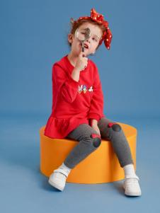 2018迪士尼寶寶女童可愛紅色上衣