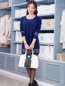艾菲顿女装藏青条纹连衣裙