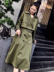 雨珊女装军绿色风衣
