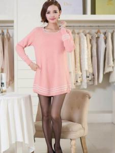艾菲顿女装粉色休闲连衣裙