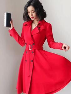 雨珊女装红色风衣
