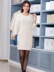 艾菲顿女装白色时尚连衣裙