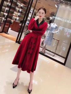 雨珊女装优雅红色连衣裙