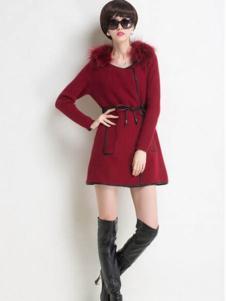 艾菲顿女装红色时尚连衣裙