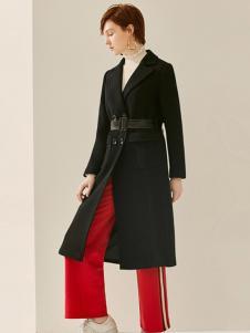 FIRSTVIEW女装黑色收腰大衣