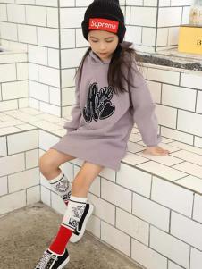 摩可童裝灰紫色時尚連衣裙