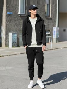 woog2005男装黑色运动休闲外套
