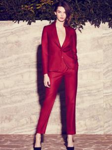 法颂蓝女装红色时尚西装套装