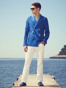 法颂蓝男装蓝色双排扣西装