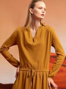 ZAIN女装黄色收腰连衣裙
