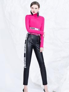 DevilBeauty女装梅红修身高领T恤
