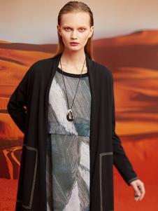 ZAIN女装黑色长款针织外套