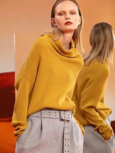 ZAIN女装黄色高领针织衫