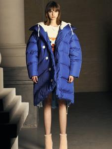 DevilBeauty女装蓝色休闲羽绒服