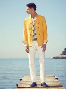 法颂蓝男装黄色休闲外套