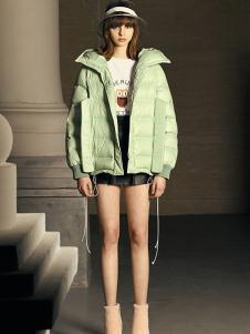 DevilBeauty女装浅绿色休闲羽绒服