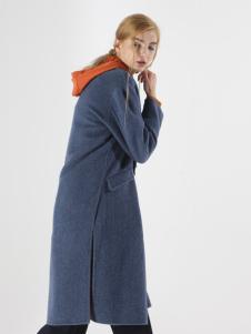 子容秋冬新款蓝色呢大衣