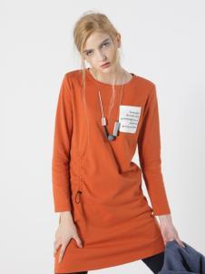 子容秋冬新款橙色长卫衣