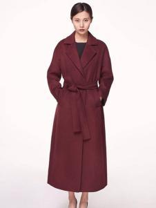 XiaoStudios女装枣红色大衣