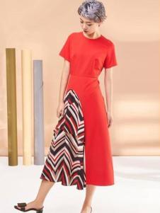 XiaoStudios女装红色拼接连衣裙