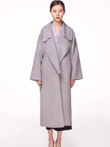 XiaoStudios女装灰色宽松大衣