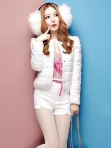哈衣宝贝女装白色时尚羽绒服