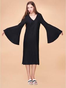 XiaoStudios女装黑色喇叭袖连衣裙