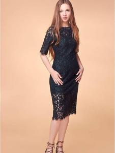 XiaoStudios女装黑色蕾丝连衣裙