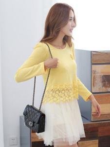 久拉拉女装黄色蕾丝T恤