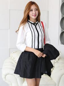 久拉拉女装白色时尚衬衫