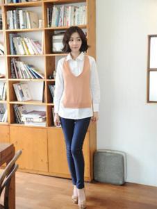 格皙女装假两件时尚衬衫