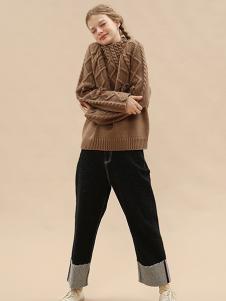 塔卡沙女装棕色休闲毛衣