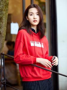 XYING香影秋冬新款红色卫衣