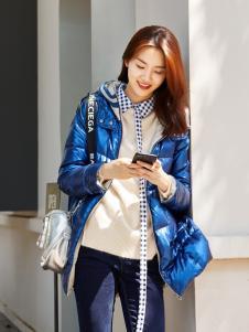XYING香影秋冬新款蓝色羽绒服