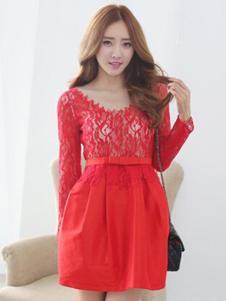 久拉拉女装红色蕾丝连衣裙