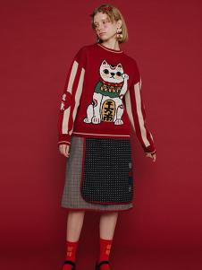 塔卡沙女装红色招财猫针织衫