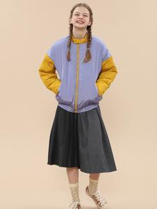 塔卡沙女装紫色拼接外套