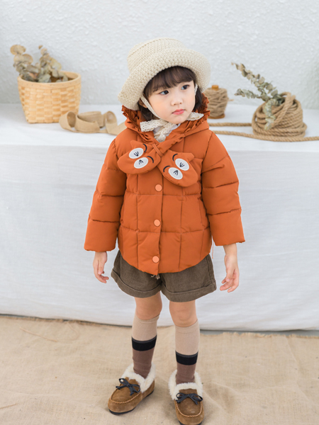 淘淘猫冬季新款橘红色棉衣