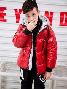 淘淘猫冬季新款红色短款羽绒服