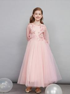 爱安玖童装粉色刺绣女裙